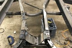 Wolseley Hornet chassis restoration hot rivetting