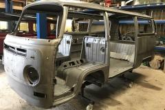 Bay window VW camper body restoration
