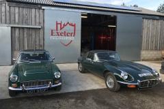 MG C and  e type Jaguar